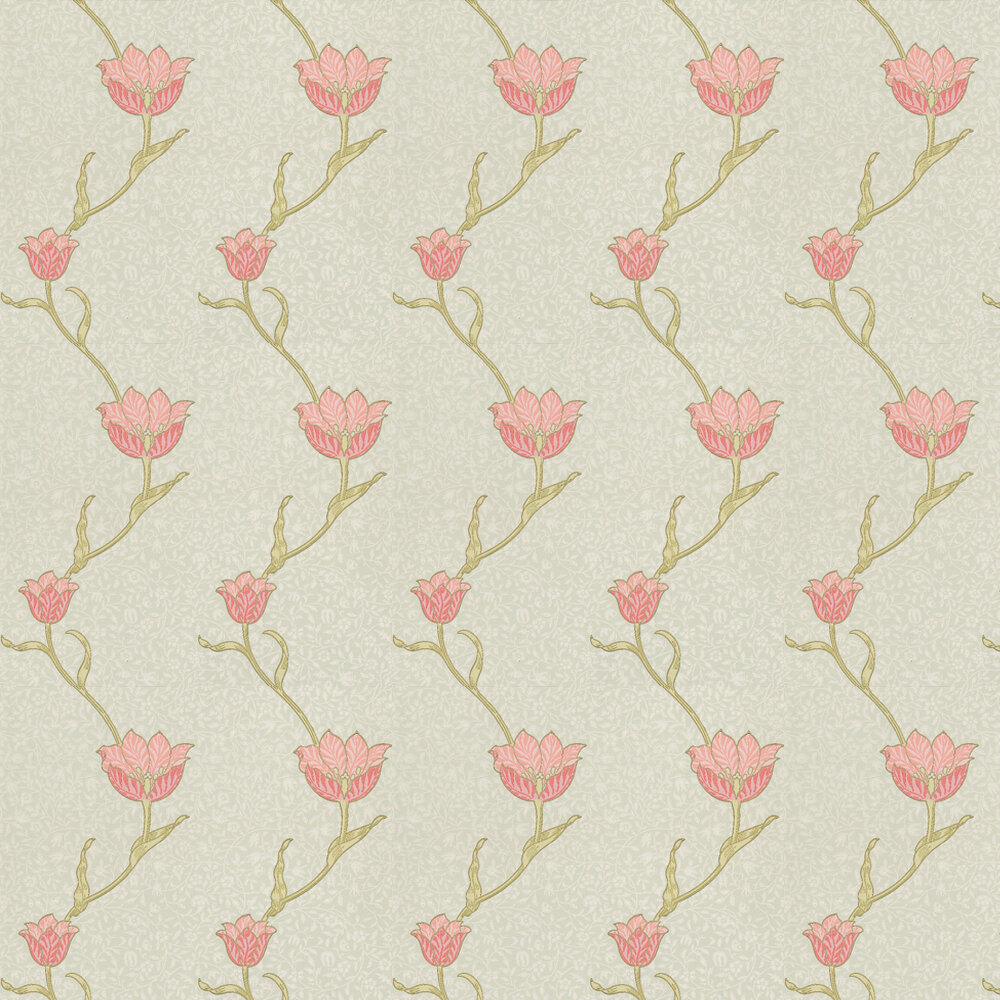 Garden Tulip Wallpaper - Pink / Soft Aqua - by Morris