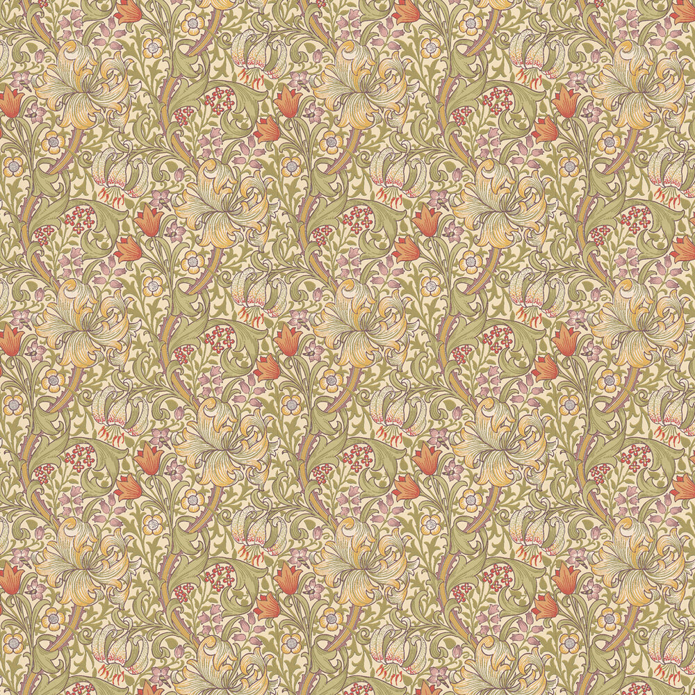 Golden Lily Wallpaper - Olive / Russet - by Morris