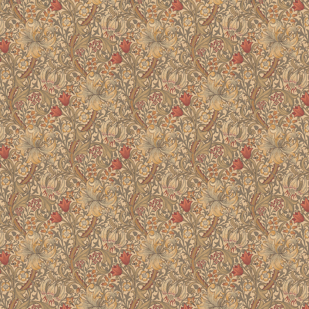 Golden Lily Wallpaper - Biscuit / Brick - by Morris