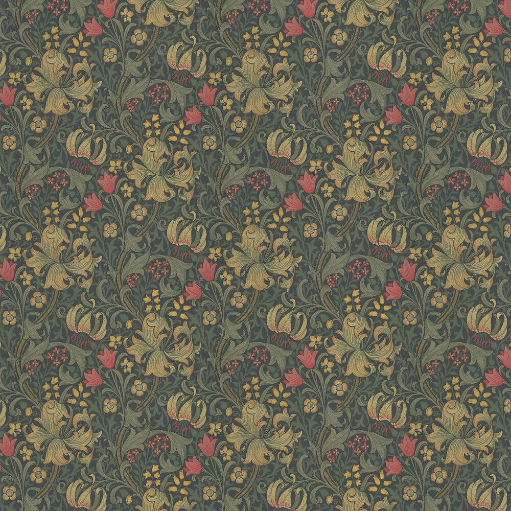 Golden Lily Wallpaper - Red / Cream / Dark Green - by Morris