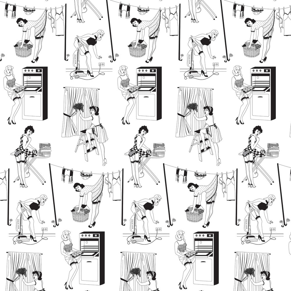 50's Housewife (Half Scale) Wallpaper - Black / White - by Dupenny