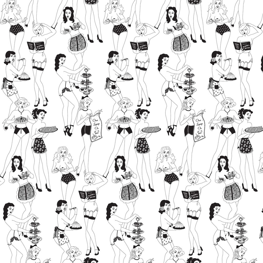 Time For Tea (Half Scale) Wallpaper - Black / White - by Dupenny