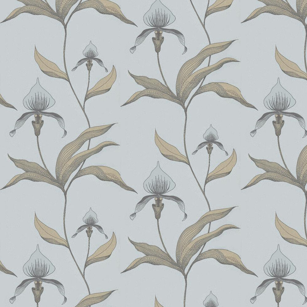 Orchid Wallpaper - Pale Green / Soft Blue - by Cole & Son