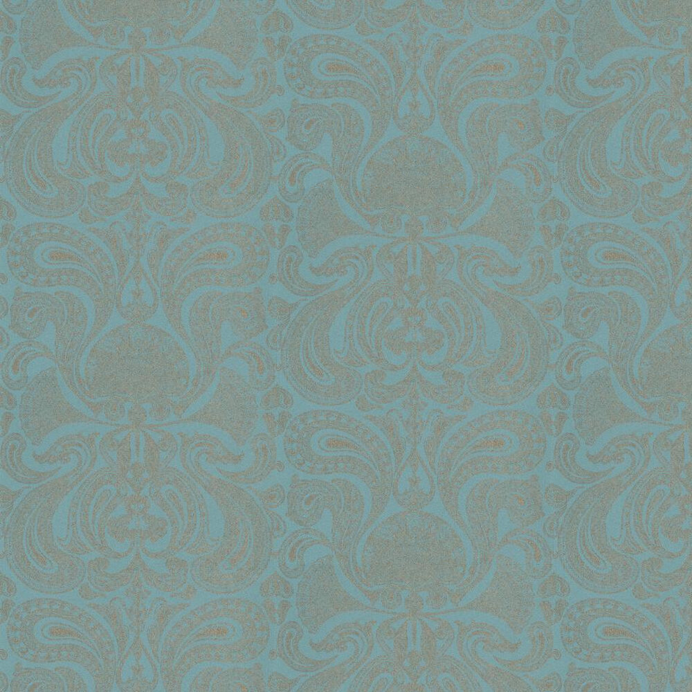Malabar Wallpaper - Turquoise / Gold - by Cole & Son