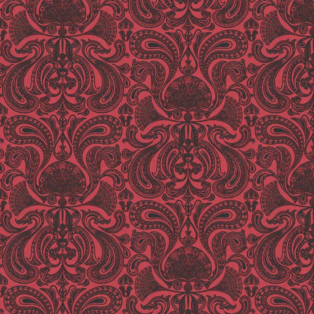Malabar Wallpaper - Black / Red - by Cole & Son