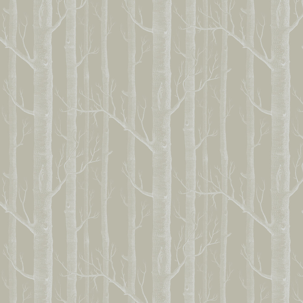 Woods Wallpaper - Taupe / White - by Cole & Son