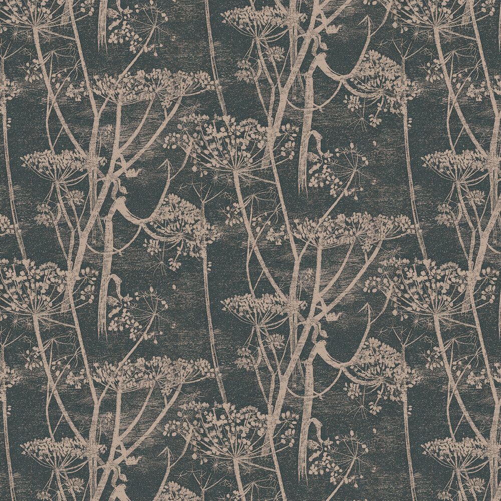 Cow Parsley Wallpaper - Black / Gold - by Cole & Son