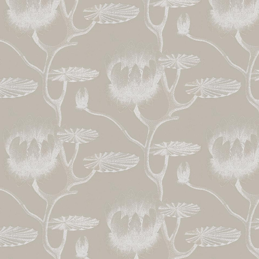 Lily Wallpaper - White / Grey / Beige - by Cole & Son