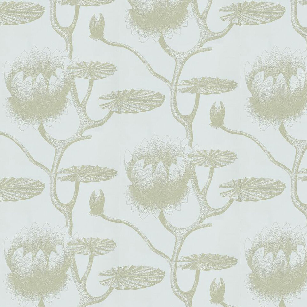 Lily Wallpaper - Green / Sky Blue - by Cole & Son