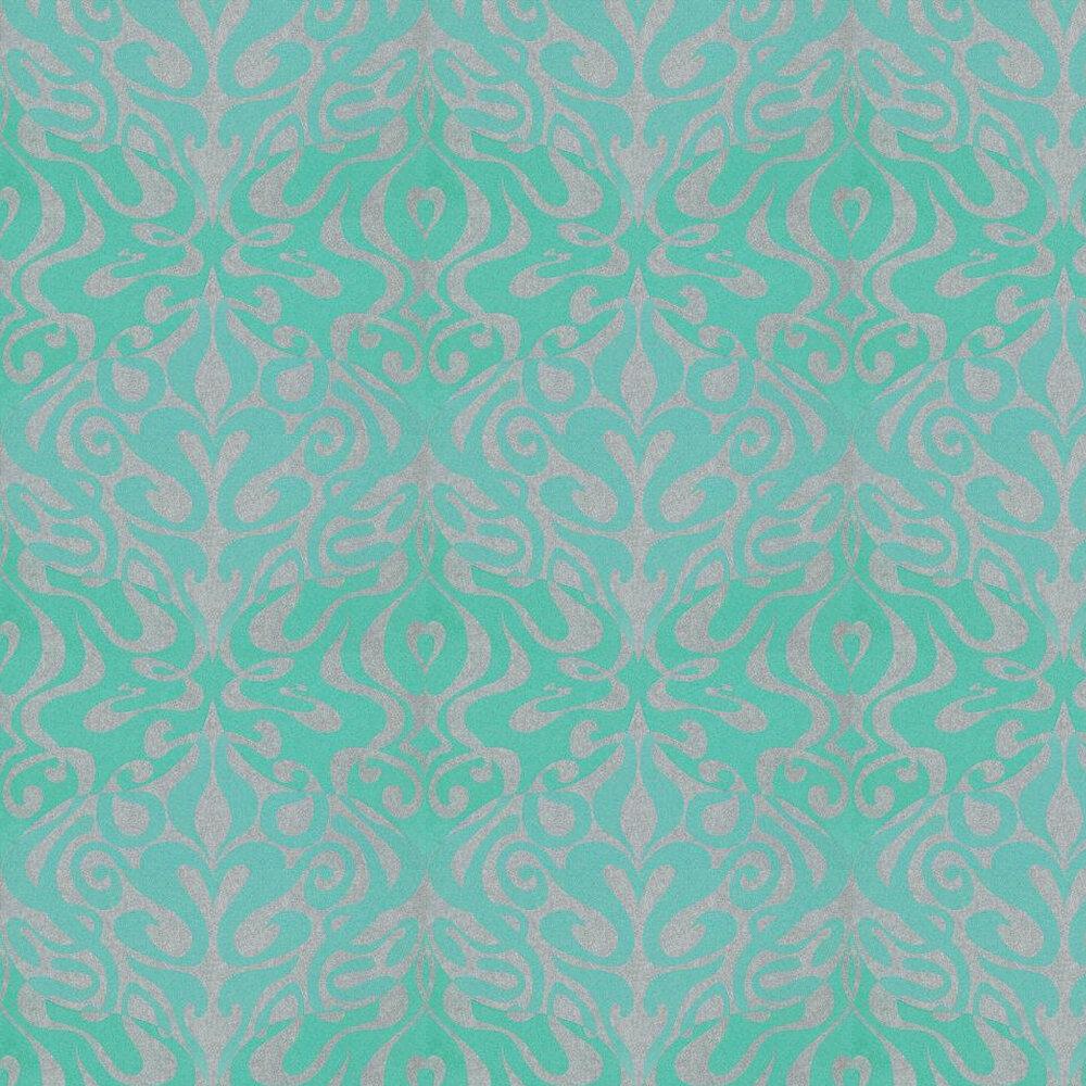 Woodstock Wallpaper - Aqua / Metallic Silver - by Cole & Son