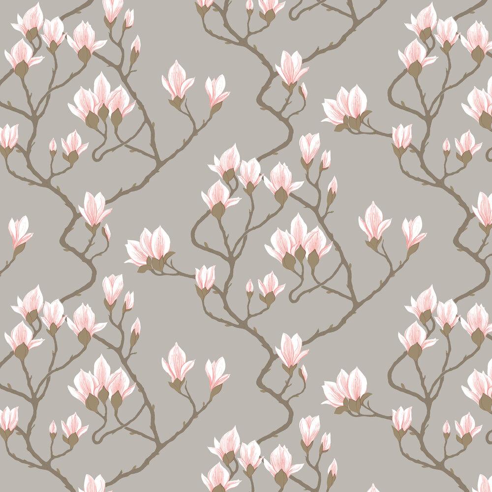 Magnolia Wallpaper - Pink / Metallic Silver - by Cole & Son