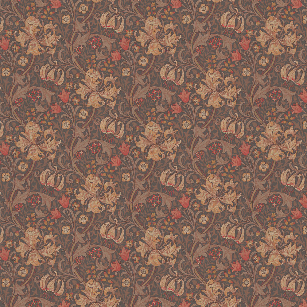 Golden Lily Wallpaper - Red / Brown - by Morris