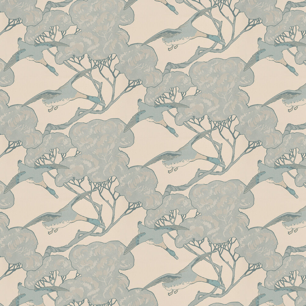 Flying Ducks Wallpaper - Aqua / Cream - by Mulberry Home