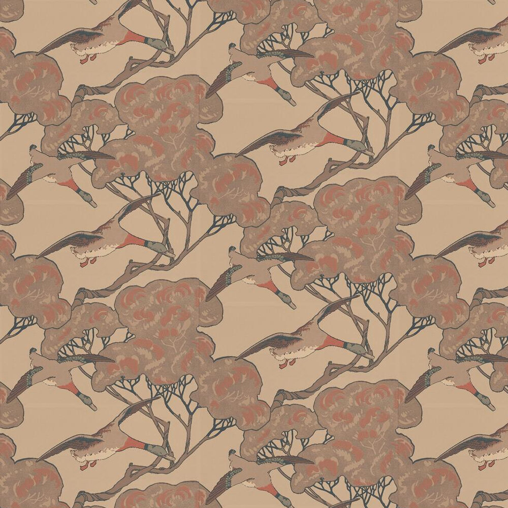 Mulberry Home Flying Ducks Pale Brown / Stone Wallpaper - Product code: FG066K102