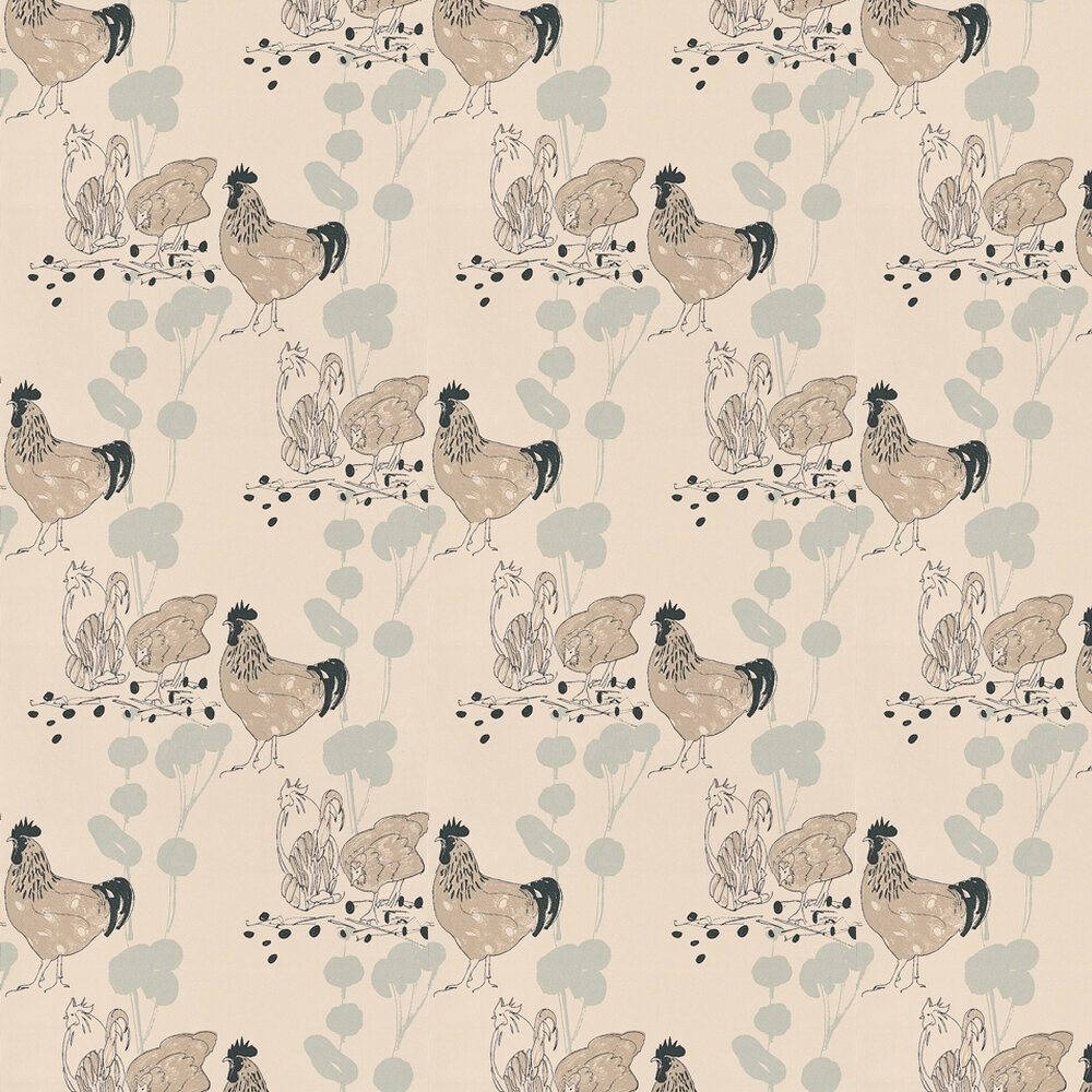 Belynda Sharples Chickens Blue / Black / Beige Wallpaper - Product code: AOW-CHI-02