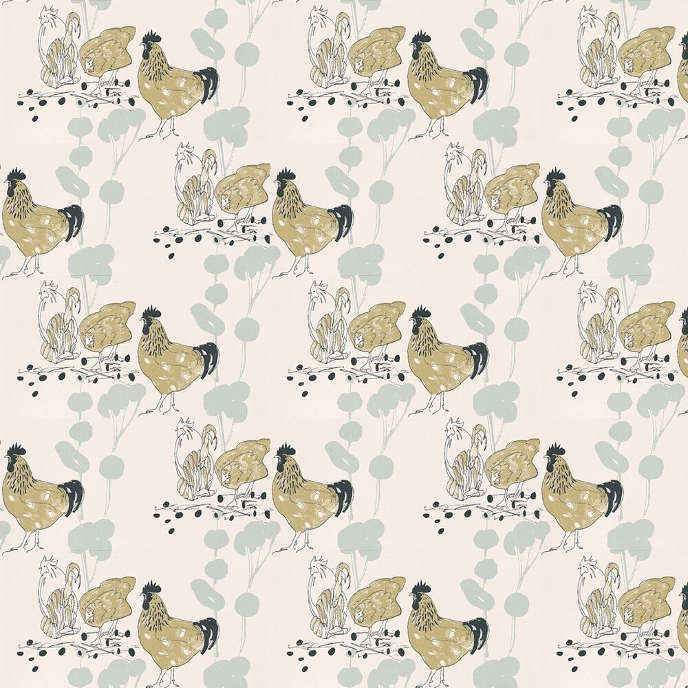 Chickens Wallpaper - Blue / Black / Green - by Belynda Sharples