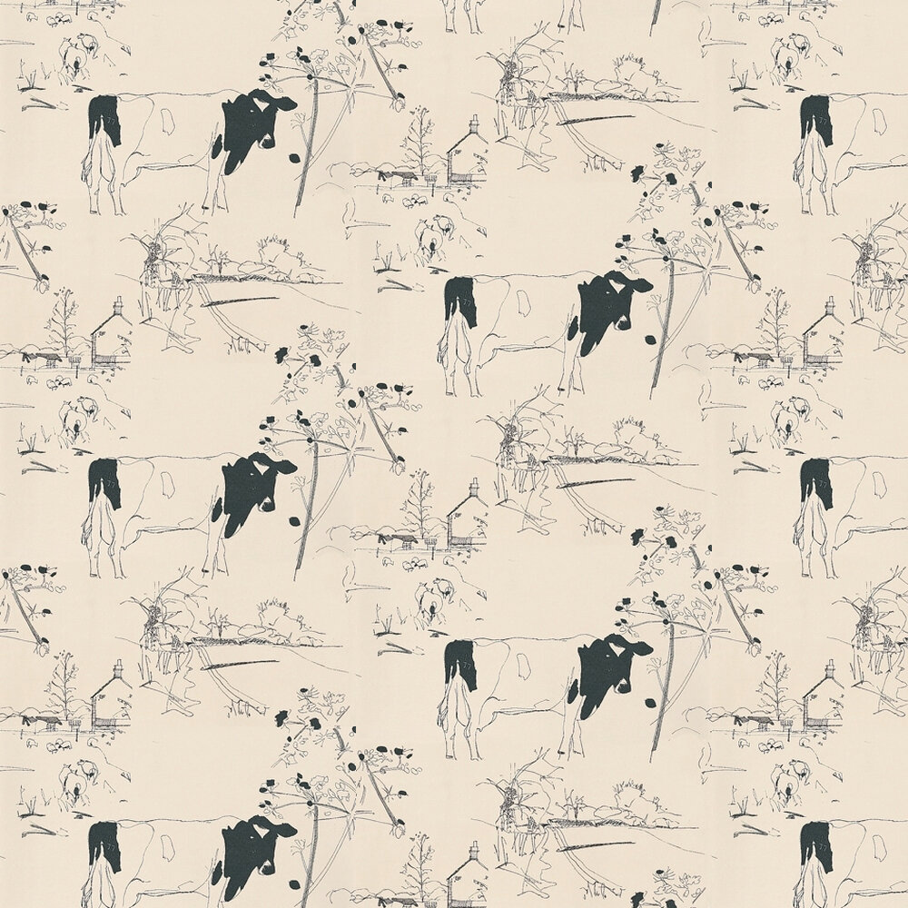 Countryside Toile Wallpaper - Blue / Off White - by Belynda Sharples