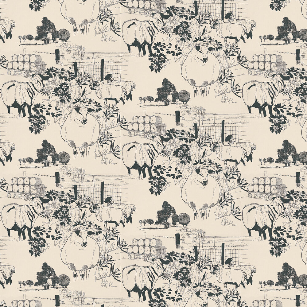 Sheep Wallpaper - Black / Off White - by Belynda Sharples