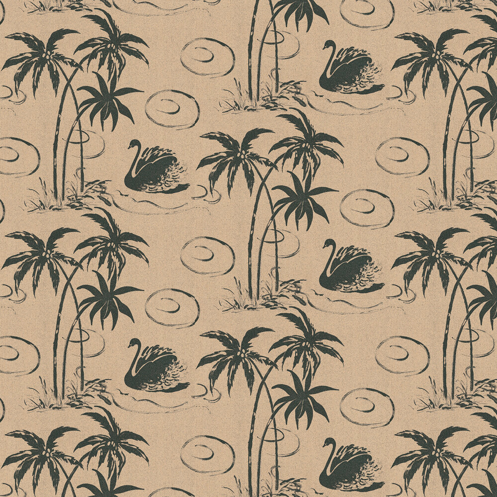 Tropical Swan Wallpaper - Black / Mocha - by Belynda Sharples