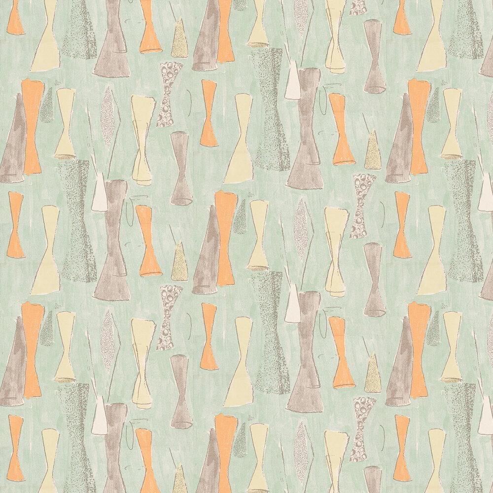 Belynda Sharples Vase Orange / Yellow / Grey / Duck Egg Wallpaper - Product code: AOW-VAS-01