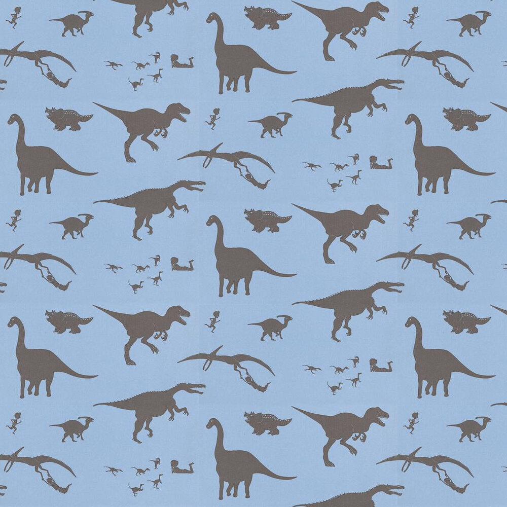 PaperBoy D'ya-think-e-saurus Blue / Brown Wallpaper - Product code: DTES Blue