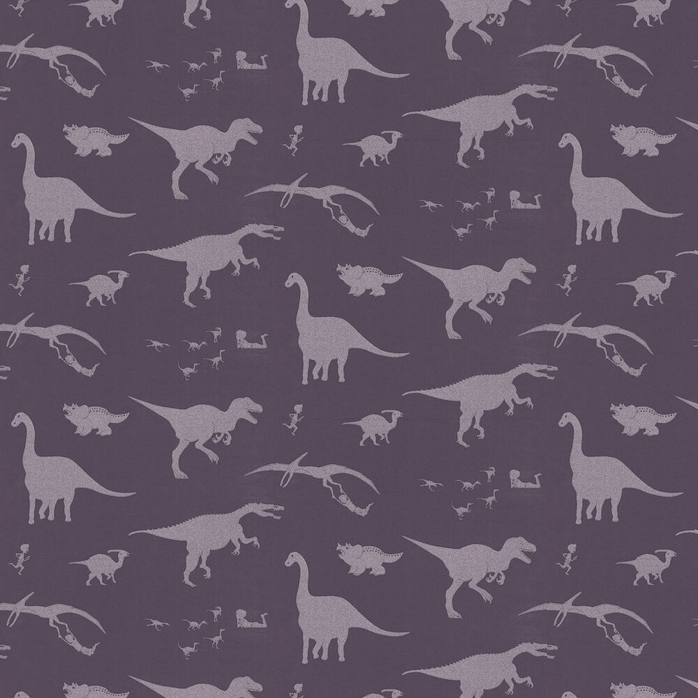 PaperBoy D'ya-think-e-saurus Purple / Silver Wallpaper - Product code: DTES Purple