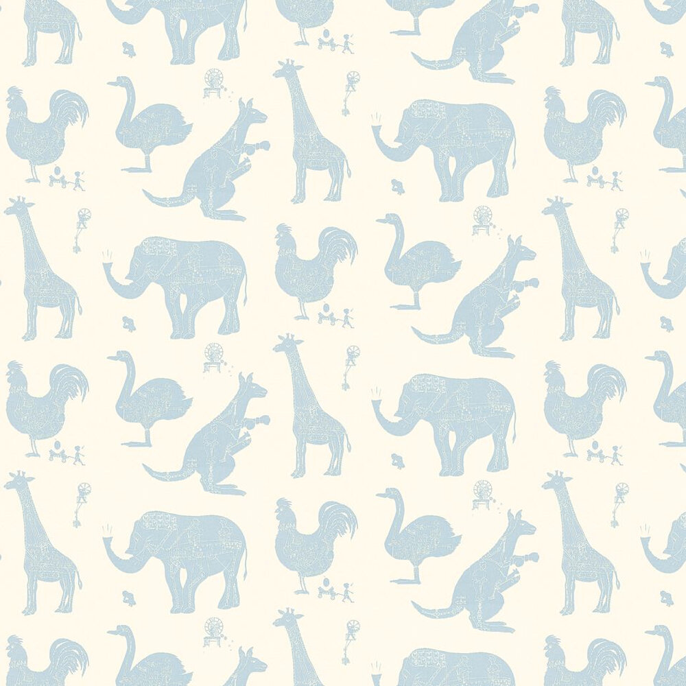 PaperBoy How it works - White White / Blue Wallpaper - Product code: HIW White