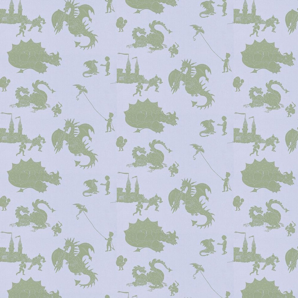 Ere-be-dragons Grey Wallpaper - Green / Grey Lilac - by PaperBoy