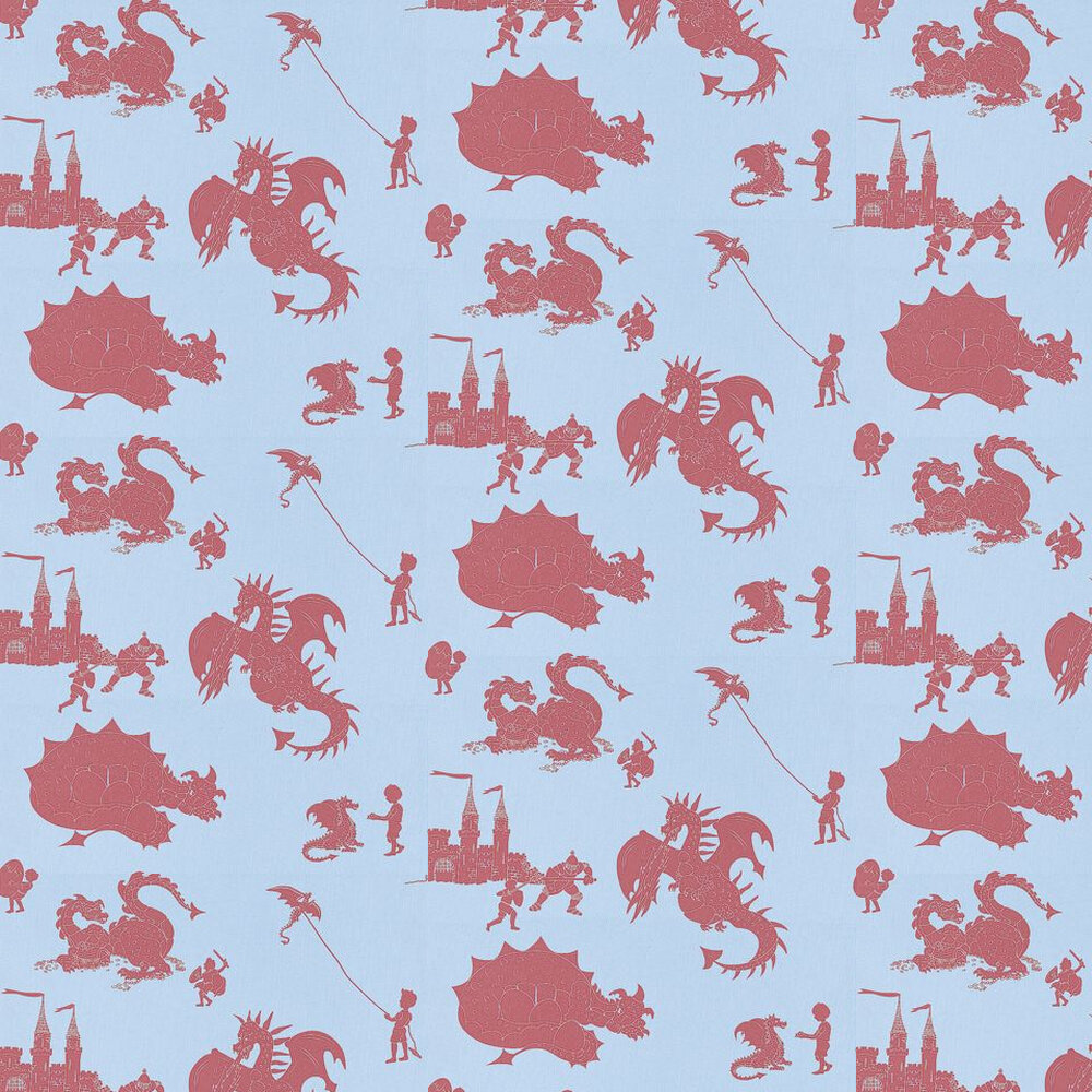 PaperBoy Ere-be-dragons Red Red / Blue Wallpaper - Product code: EBD Red