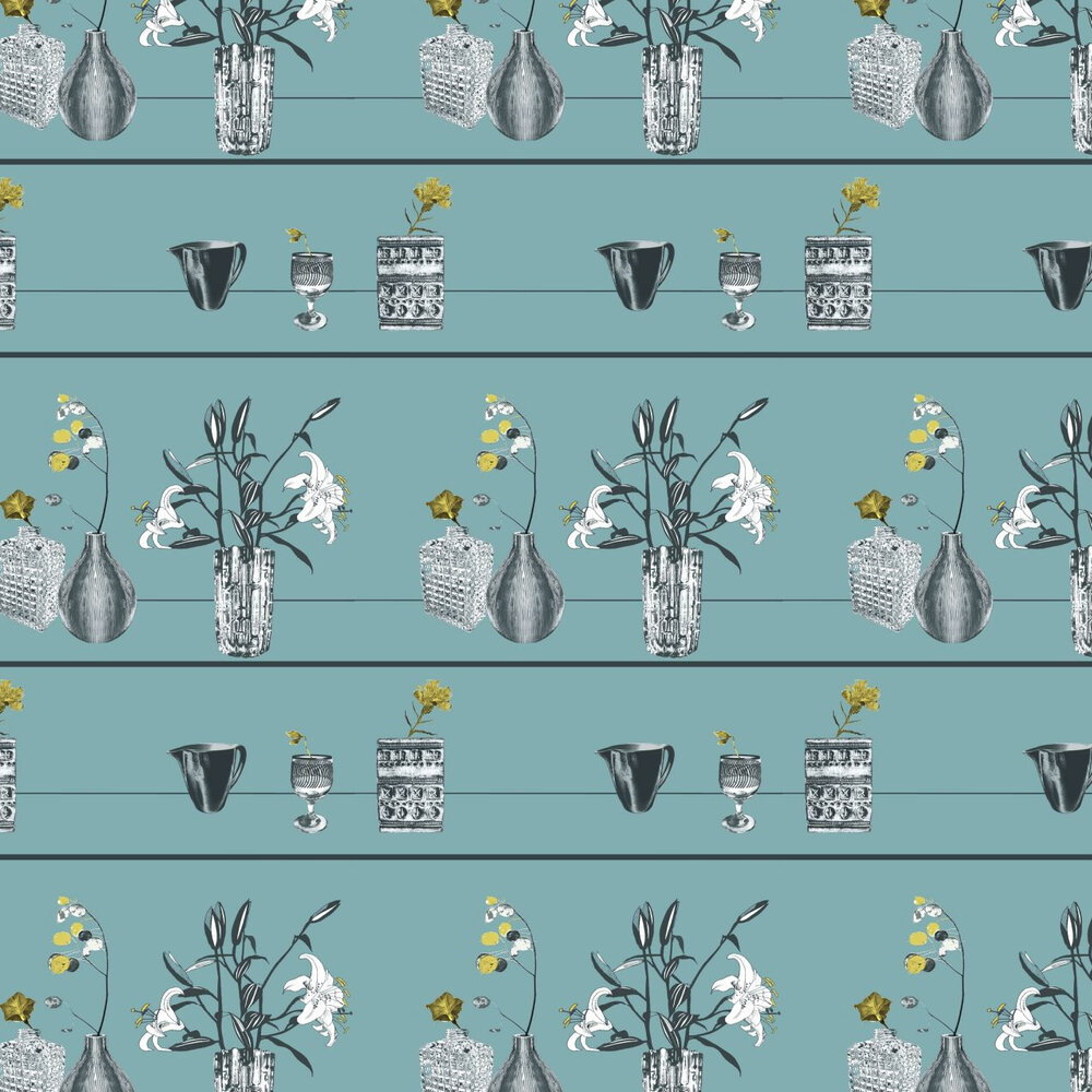 Shelf Blue Wallpaper - Blue / Green / Grey - by Louise Body