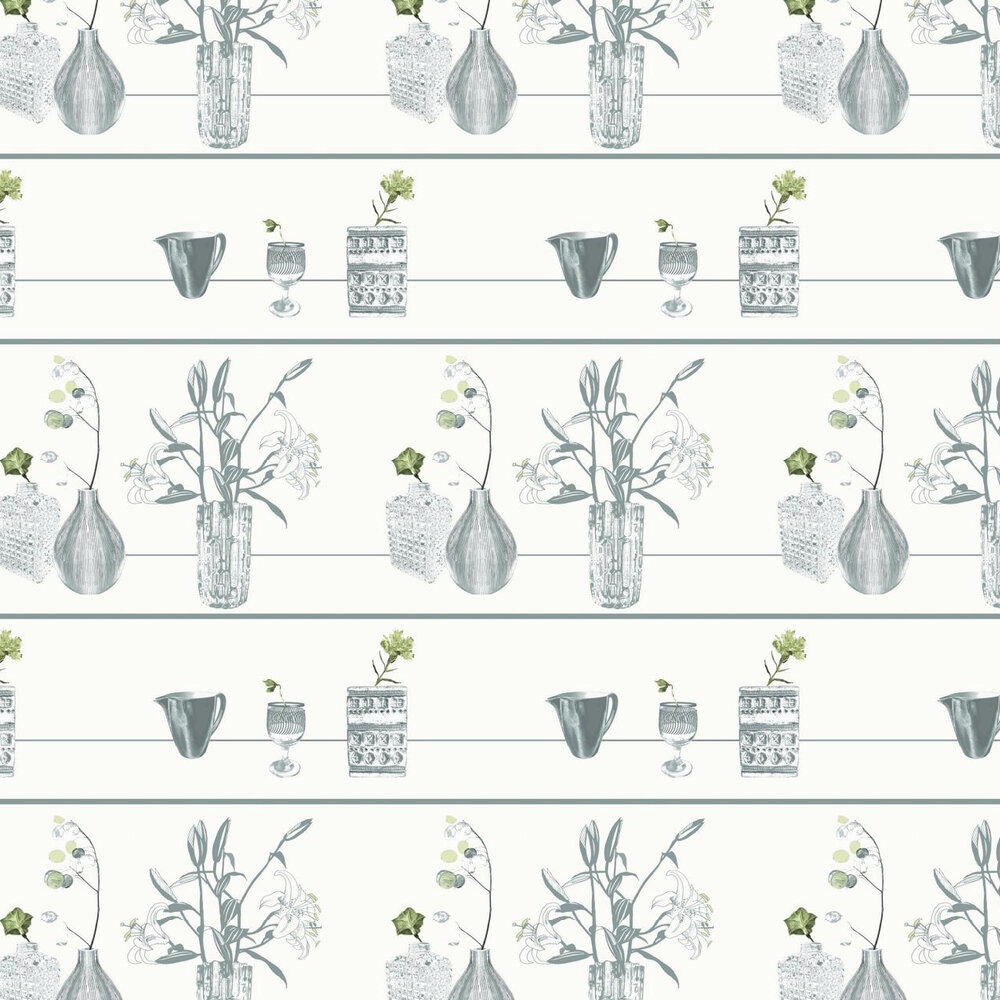 Shelf Cream Wallpaper - Green / Grey / Cream - by Louise Body