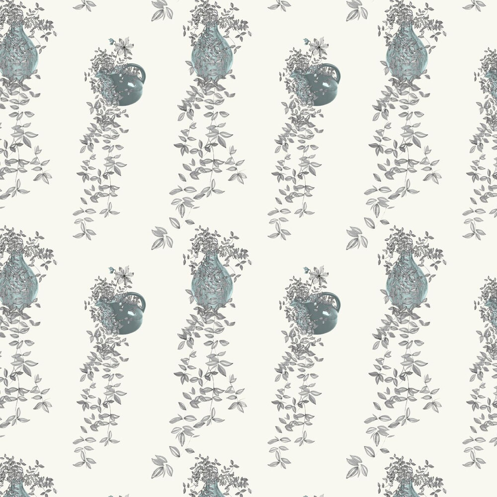 Traily Plant Grey Wallpaper - Grey / Blue / Cream - by Louise Body