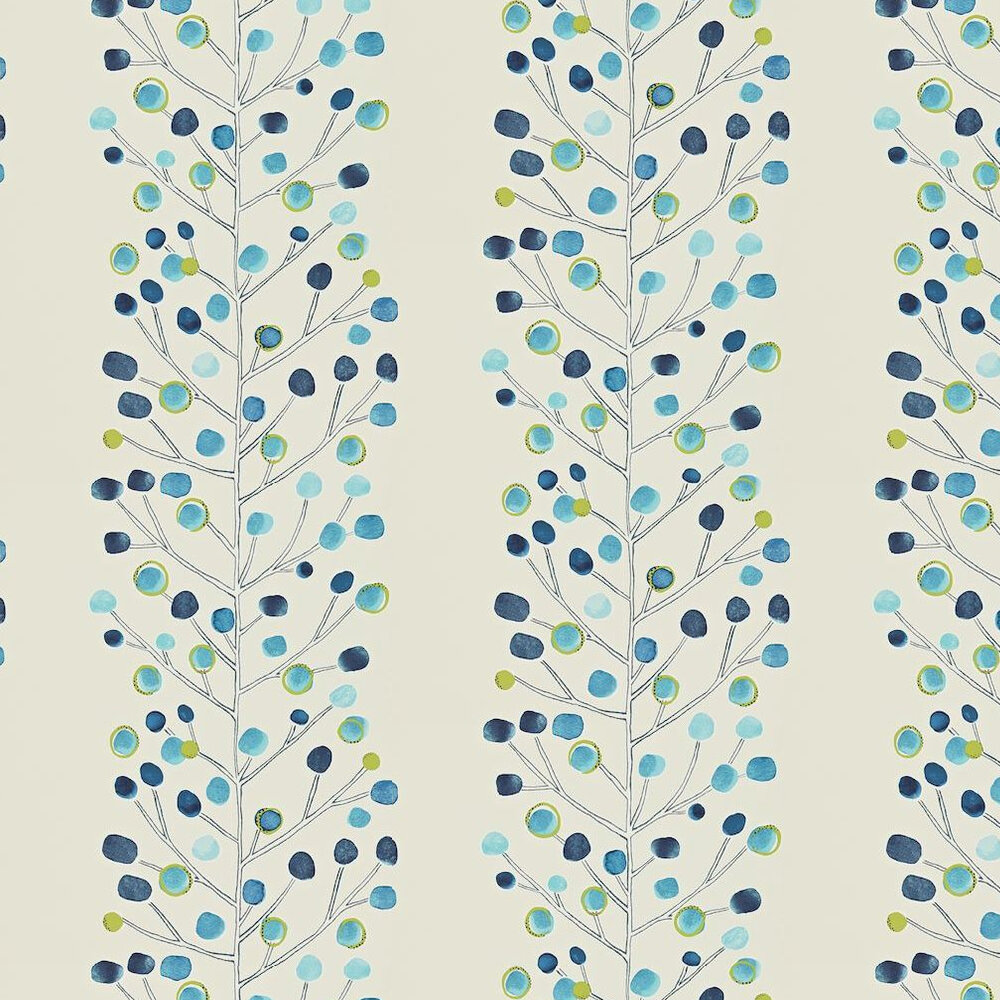Berry Tree Wallpaper - Blue / Green - by Scion