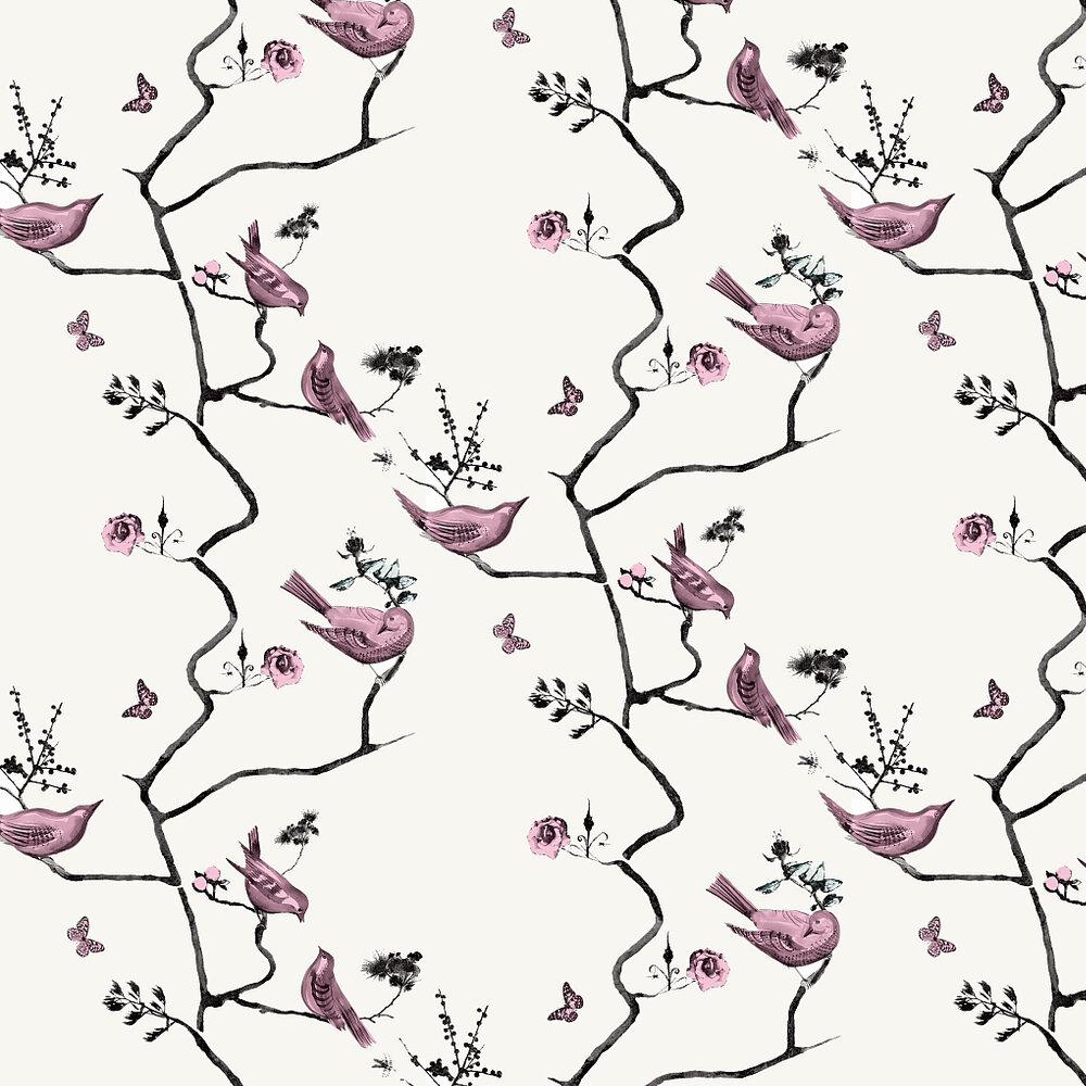 Louise Body Pavilion Birds Stone Pink / Stone Wallpaper - Product code: Pavilion Birds