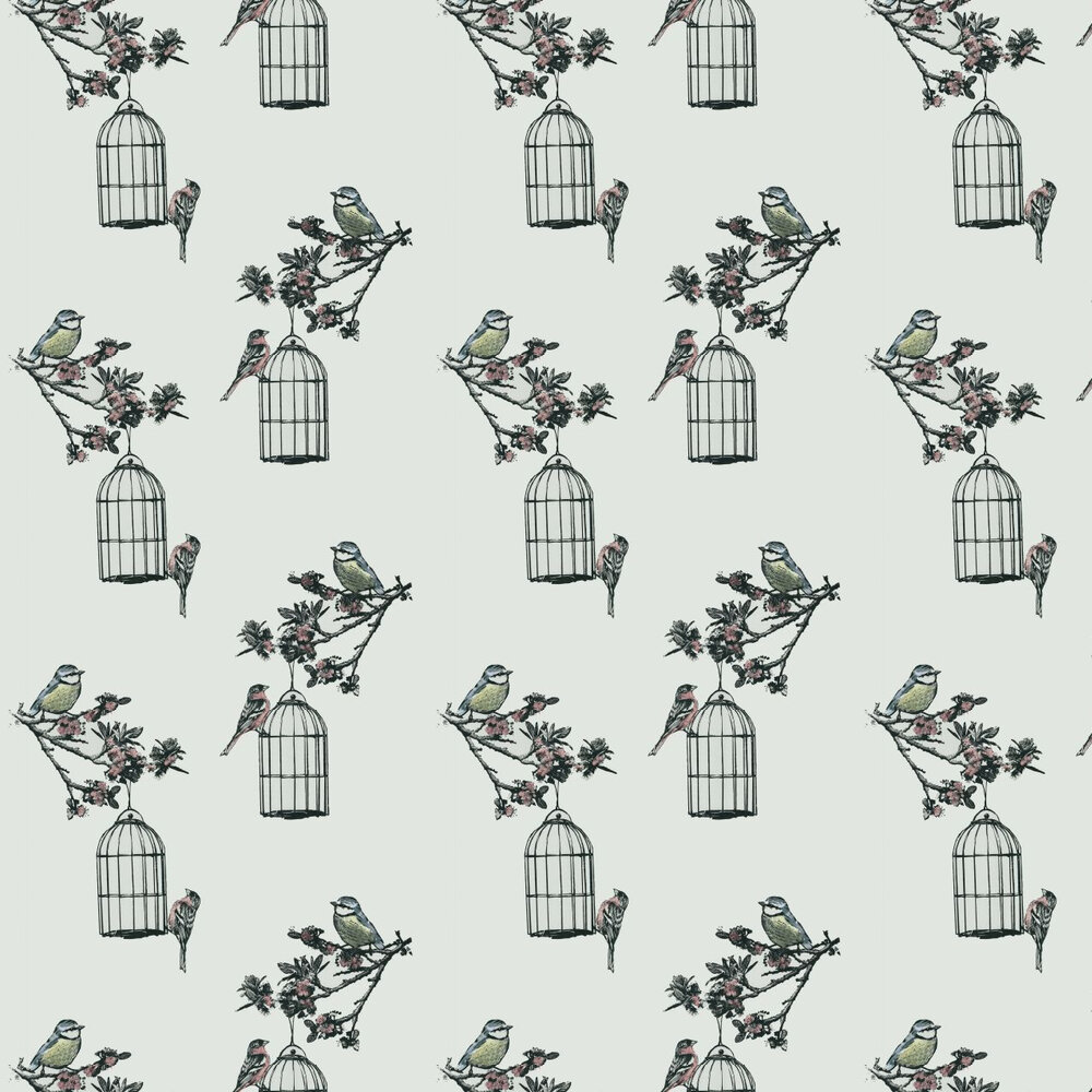 Harry's Garden Wallpaper - Pale Grey - by Louise Body