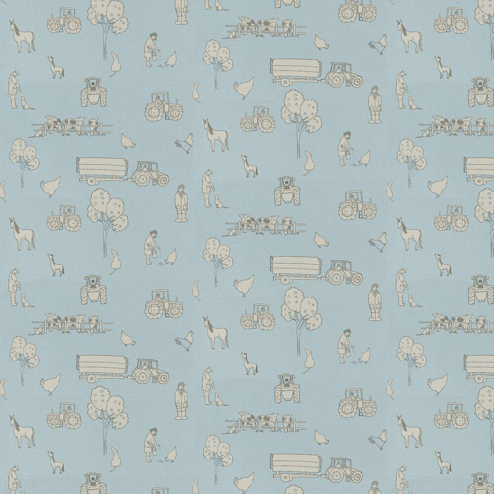 Cluck a Doodle Farm  Wallpaper - Pale Grey / Soft Blue - by Katie Bourne Interiors