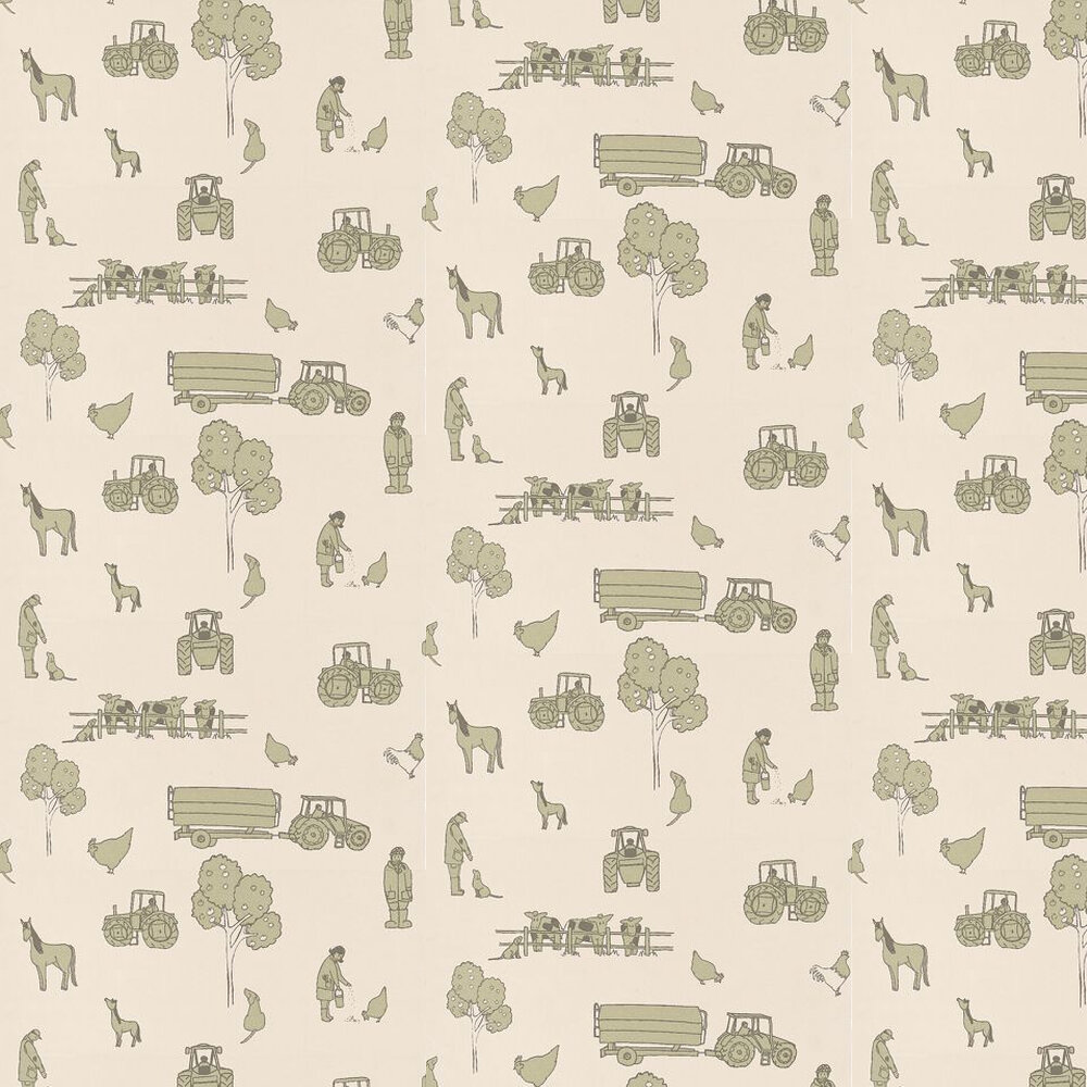 Cluck a Doodle Farm  Wallpaper - Green / Cream - by Katie Bourne Interiors