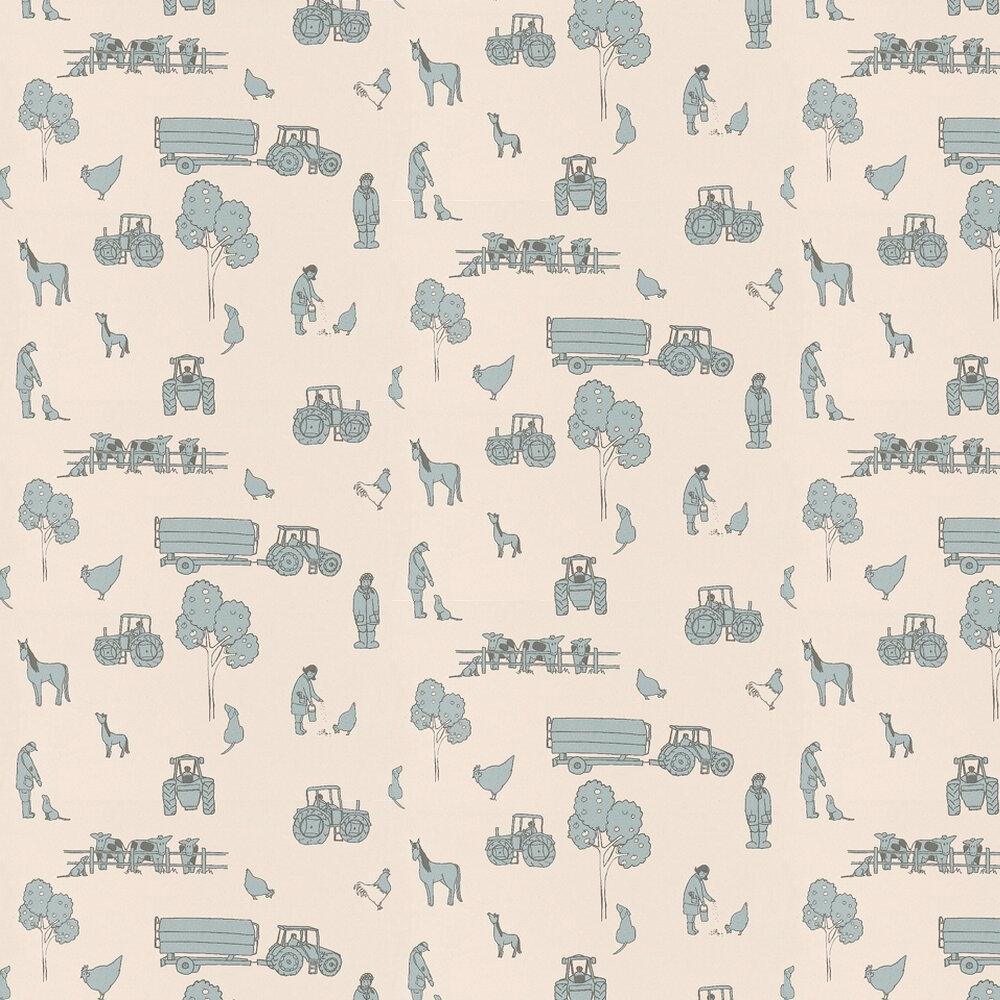 Cluck a Doodle Farm  Wallpaper - Pale Blue / Cream - by Katie Bourne Interiors