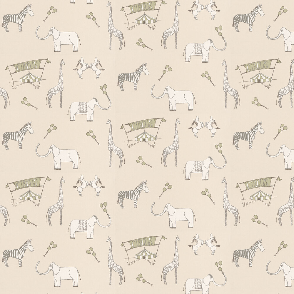 Katie Bourne Interiors Merry Go Circus Cream / Green Wallpaper - Product code: 1H Merry