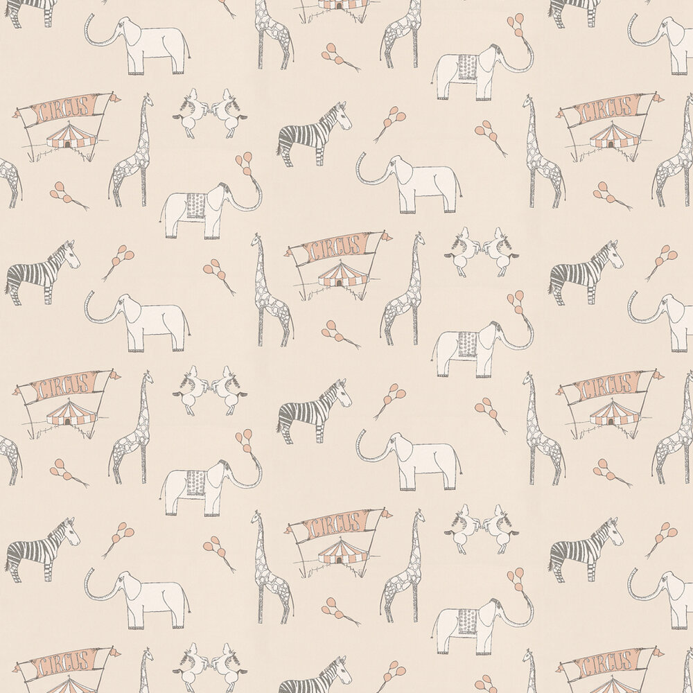 Merry Go Circus Wallpaper - Cream / Pink - by Katie Bourne Interiors