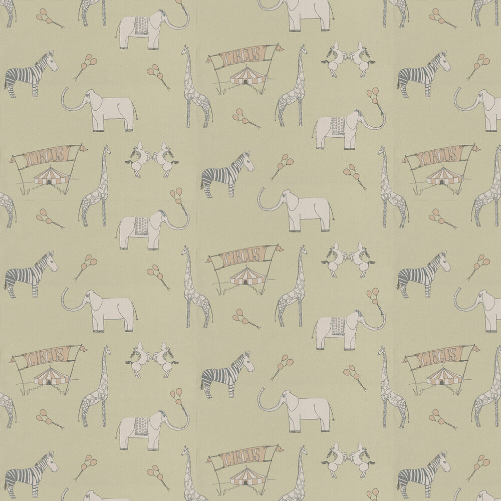 Merry Go Circus Wallpaper - Green / Pink - by Katie Bourne Interiors