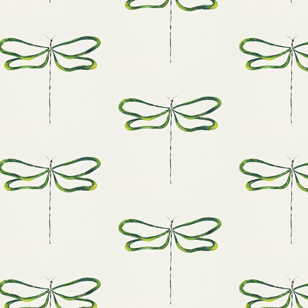 Scion Dragonfly White / Green Wallpaper - Product code: 110249