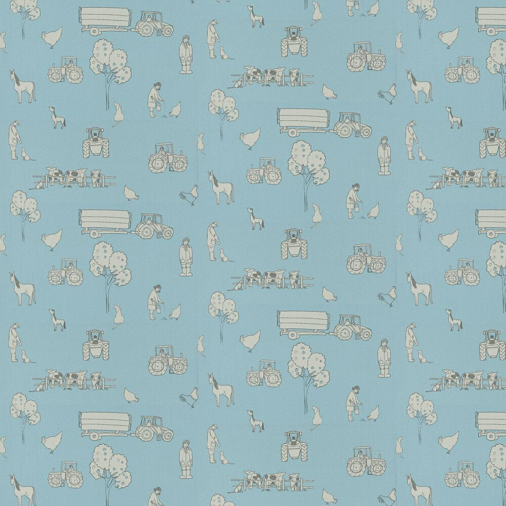 Cluck a Doodle Farm  Wallpaper - Grey / Sky Blue - by Katie Bourne Interiors
