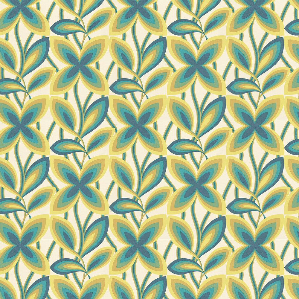 Little Greene Starflower Peacock / Yellow Wallpaper - Product code: 0280STPEACO