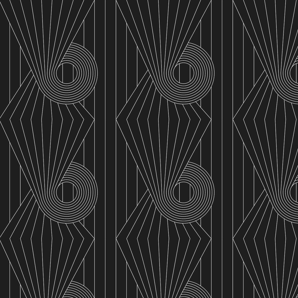 Spiral Wallpaper - White / Black - by Erica Wakerly