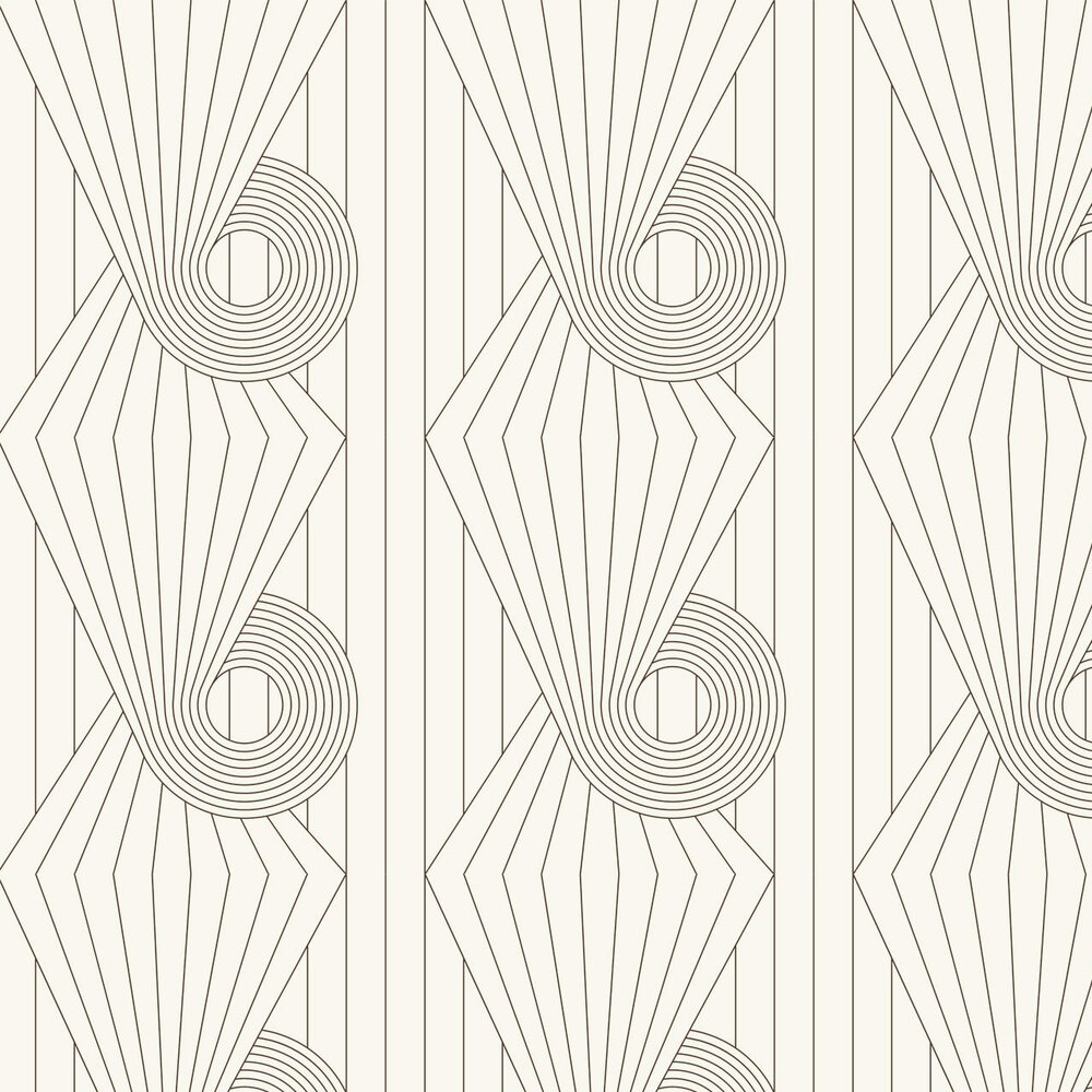 Spiral Wallpaper - Brown / Cream - by Erica Wakerly