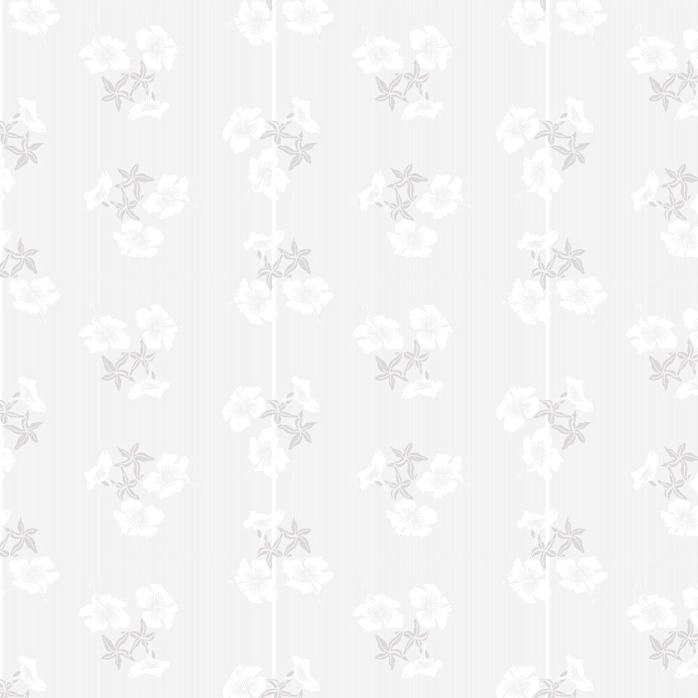 Hibiscus Wallpaper - Grey / White - by Erica Wakerly
