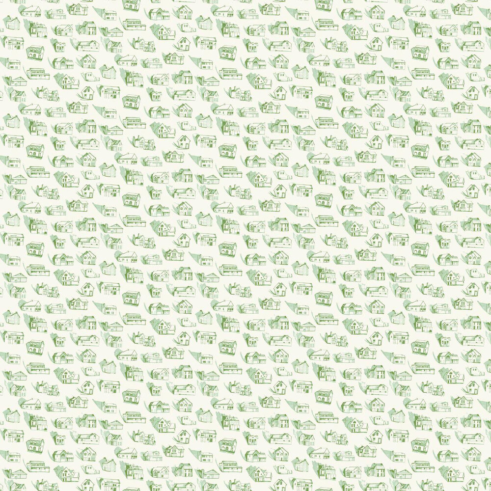 Houses Wallpaper - Green / Cream - by Erica Wakerly