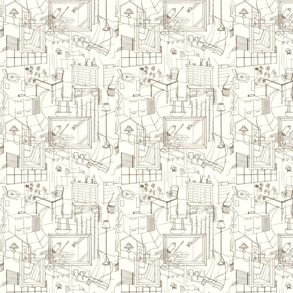 Homes Wallpaper - Brown / Cream - by Erica Wakerly
