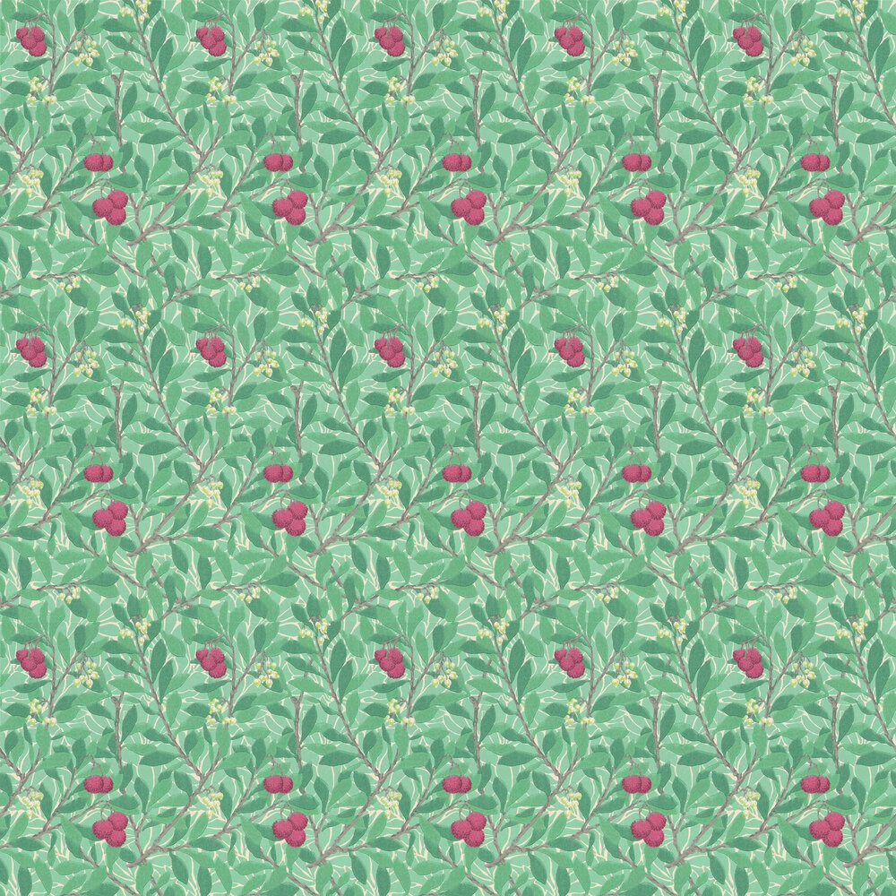 Arbutus Wallpaper - Green / Red - by Morris